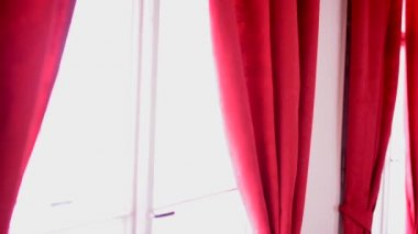Interior - windows - red curtain — Stock video