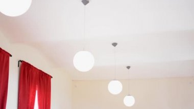 Interior - lamps (lights) - red curtain — Stock Video