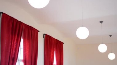 Interior - dance hall - lights (lamps) - red curtain — Video Stock