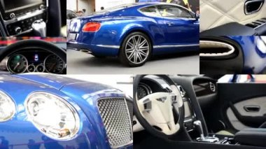 PRAGUE, CZECH REPUBLIC, CAR EXHIBITION - SEPTEMBER 27, 2014: 4K montage (compilation) - Bentley car - dashboard and wheel, gear(shift) lever - logo - interior and exterior - people on exhibition — Stock Video