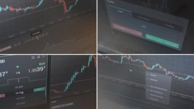 4K montage (compilation) - financial market (exchange) - graph - shot on the monitor — Stock Video