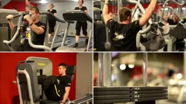 PRAGUE, CZECH REPUBLIC: JANUARY 2014 - 4K montage (compilation) - Man strengthens the muscles in fitness, gym. Workout — Stock Video