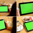 4K MONTAGE (4 VIDEOS) - tablet green screen - people work on tablet — Stock Video #71252999