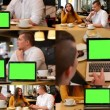 4K MONTAGE (8 VIDEOS) - technology devices green screen - notebook and tablet - happy couple talk in cafe and working on devices — Stock Video #71254361