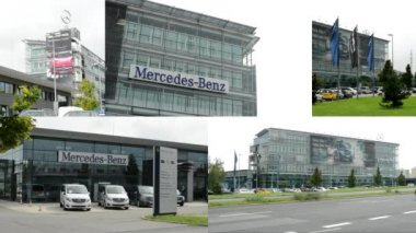PRAGUE, CZECH REPUBLIC - AUGUST 2014: 4K montage (compilation) - headquarter of Mercedes Benz - part of the building with sign and logos - parked cars - ubran street with cars — Stock Video