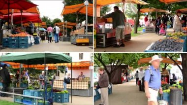 PRAGUE, CZECH REPUBLIC - AUGUST 14, 2014: 4K MONTAGE (compilation) - Farmers Market in the city with people — Stok video