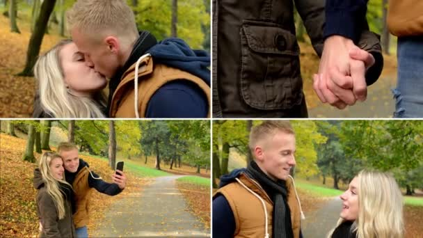 4K montage (compilation) - young model happy couple in love - couple kiss, talk, holding hands and photographing by smartphone (selfie) - autumn park (nature) - closeup — Vidéo