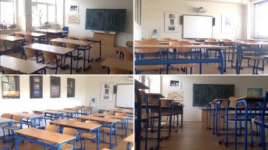 4K montage (compilation) - school class (classroom) - with electronic board - empty class — Stock Video
