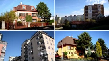 CZECH REPUBLIC, PRAGUE - OCTOBER 16, 2014: 4K montage (compilation) - exterior house in the city and high-rise block of flats - housing estate (development) with nature - sky - urban street — Wideo stockowe