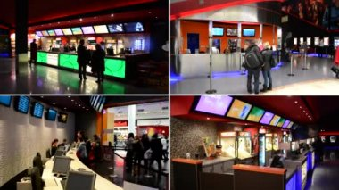 PRAGUE, CZECH REPUBLIC - FEBRUARY 28, 2015: 4K montage (compilation) - cinema box office with cashiers and customers and snack bar in the cinema with people — Stock Video