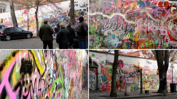 PRAGUE, CZECH REPUBLIC - DECEMBER 27, 2014:  4K montage (compilation) - Lennon Wall with people and cars — Vídeo de stock