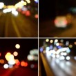 4K montage (compilation) - night city - night urban street with cars - lamps - car headlight - blurred — Stock Video #73450979