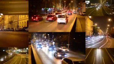 PRAGUE, CZECH REPUBLIC - FEBRUARY 1, 2015: 4K montage (compilation) - night city - night street with cars - lamps - car headlight - timelapse — 图库视频影像