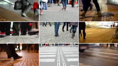 PRAGUE, CZECH REPUBLIC - SEPTEMBER, 2014: 4K compilation (montage) - people walking - commuter people - closeup legs - streets in the city - day and night — Stock Video
