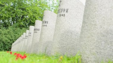 PRAGUE, CZECH REPUBLIC - MAY 2, 2015: Cemetery - gravestones - World War II — Stockvideo