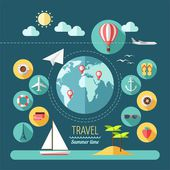 Flat design style modern vector illustration icons set of planning a summer vacation. — Stock Vector