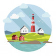 Flat lighthouse on the landscape — Stock Vector #56412131