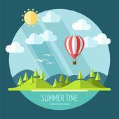 Summer landscape in flat style - vector illustration — Vecteur