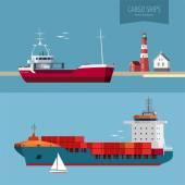 Иллюстрация понятия транспортировки - грузовые суда — Cтоковый вектор