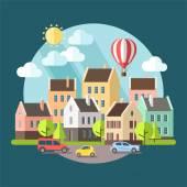 Flat design urban landscape illustration — Vecteur