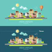 Flat design townscape. — Stock Vector