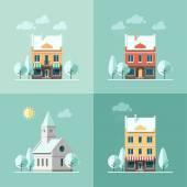 Winter houses. — Stock Vector