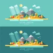 Nature - autumn landscape. — Stock Vector