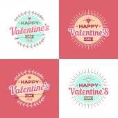 Valentines day vector illustrations and typography elements. — Vetor de Stock