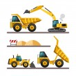 Set of building machines. Construction equipment and machinery - excavator, truck, loader. — Stock Vector #67423659