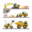 Set of building machines. Construction equipment and machinery - excavator, truck, loader. — Stock Vector #67423663