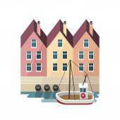 Houses on the waterfront. Berth. Travel - Scandinavia, Netherlands. — Stock Vector