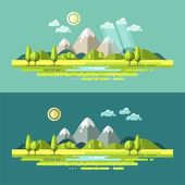 Nature landscape illustration with sun, hills and clouds. — Stock Vector