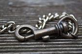 Brass carabiner on hardwood floor 2 — Stock Photo
