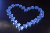 Unlit Tealights in Shape Of A Heart — Stock Photo