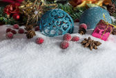 Christmas Decoration With Snow And Frozen Berries — Stock Photo