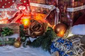 Christmas Decoration With Snow And Presents — Foto de Stock