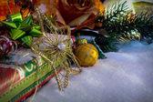 Christmas Decoration With Snow — Zdjęcie stockowe