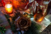 Christmas Decoration With Snow And Candle — Foto de Stock