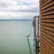 Panorama of Neuchatel Lake  in a day of bad weather — Stock Photo #57112933