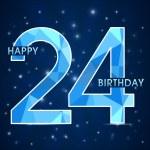 24 year birthday celebration label, 24th anniversary decorative polygon emblem - vector illustration — Stock Vector #51889289