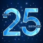 25 year birthday celebration label, 25th anniversary decorative polygon emblem - vector illustration — Stock Vector #51889293