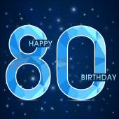 80 Year birthday, 80th anniversary polygon emblem — Stock Vector