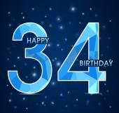 34 Year birthday, 34th anniversary polygon emblem — Stock Vector