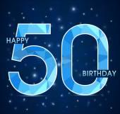 50 Year birthday, 50th anniversary polygon emblem — Stock Vector