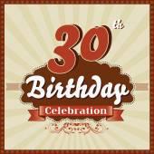 30 Years celebration, 30th happy birthday retro style card — Stock Vector