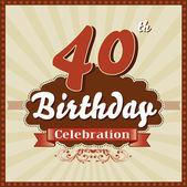 40 Years celebration, 40th happy birthday retro style card — Stock Vector