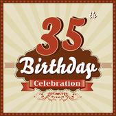 35 Years celebration, 35th happy birthday retro style card — Stock Vector