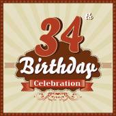 34 Years celebration, 34th happy birthday retro style card — Stock Vector