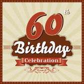 60 Years celebration, 60th happy birthday retro style card — Stock Vector