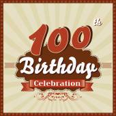 100 Years celebration, 100th happy birthday retro style card — Stock Vector